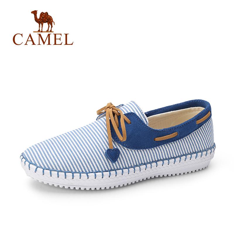 骆驼牌 女鞋新款女帆布鞋系带平跟休闲鞋学生韩版舒适百搭