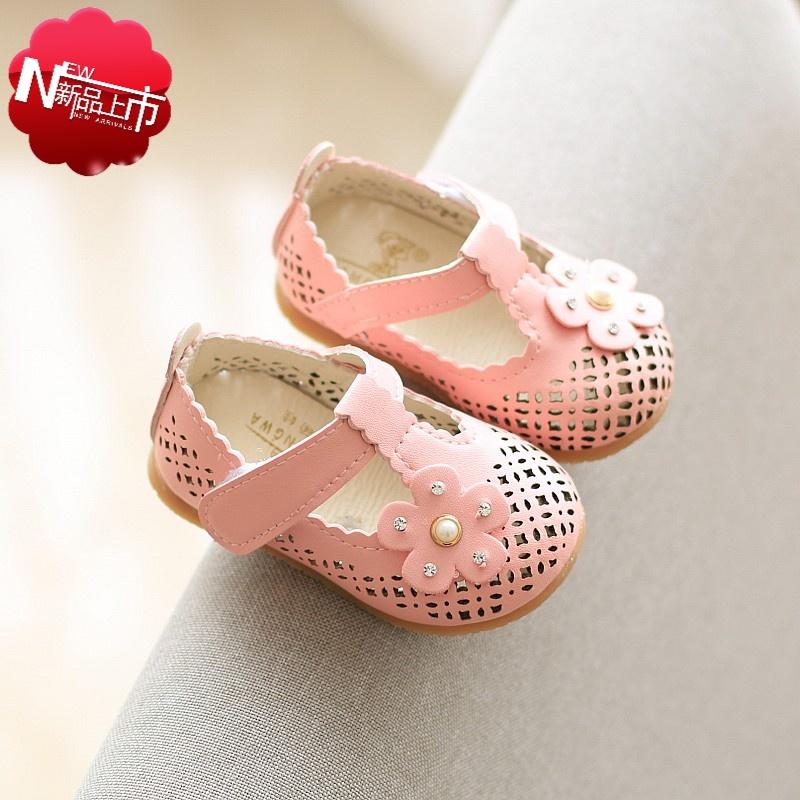 小孩子夏天穿的儿童女童皮鞋软底宝宝学步鞋1-3-5岁小童韩版公主鞋夏季包头凉鞋夏季新款幼儿园皮鞋