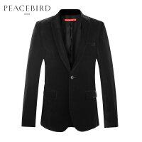 太平鸟男装 男士休闲西装外套秋季黑色外套西服男韩版便服单西