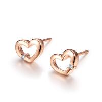 罗曼蒂珠宝18K金玫瑰金钻石耳钉女款时尚简约款钻石耳饰需定制