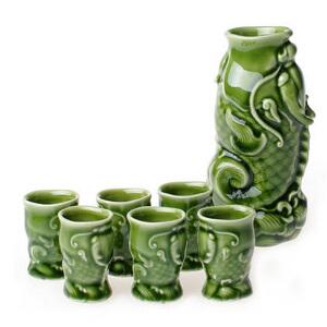 乾唐轩活瓷 鳌鱼酒器1壶6杯 白黄清酒陶瓷温酒具酒杯器壶套装