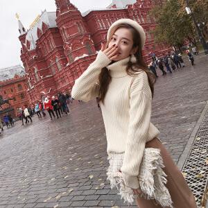 谜秀打底毛衣女高领2017秋冬装新款韩版修身学生加厚针织衫外套潮