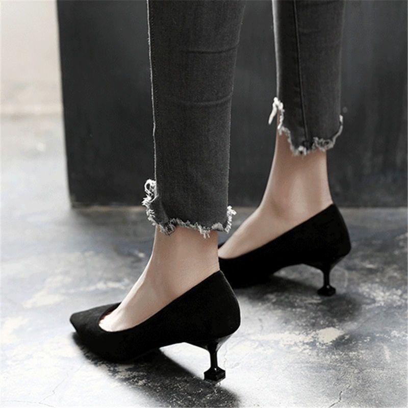 单鞋女高跟鞋女细跟韩版猫跟女鞋春秋新款鞋子尖头百搭职业工作鞋  34 标准码