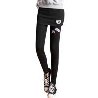 冬装个性修身纯色假两件打底裤包臀裙裤女