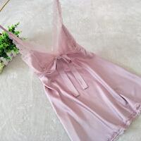 新品性感睡衣女夏丝绸家居服蕾丝花边吊带睡裙女冰丝情趣诱惑纯色