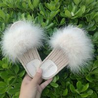毛毛拖鞋女夏外穿学生韩版时尚平底一字红凉鞋社会室外凉拖鞋