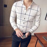秋冬秋季长袖韩版修身男士青年衬衣格子长袖衬衫尖领常规衬衫