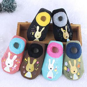 Yinbeler6双装】宝宝儿童地板袜秋冬加厚保暖婴儿学步袜子0-1岁防滑新生儿鞋袜防滑袜 6双卡通粉色 0-6月