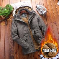 吉普盾 冬装加绒夹克冬季棉衣男大码宽松棉服中长款加厚衣服棉袄外套潮