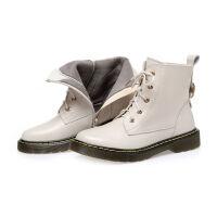 秋冬新款短靴女平底英伦马丁靴牛皮单靴软底女靴子加绒棉皮鞋