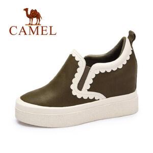 camel 骆驼女鞋 秋冬新款 休闲舒适鞋时尚花边深口平跟单鞋潮