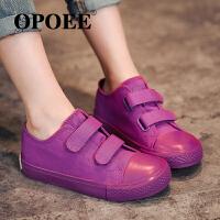 儿童帆布鞋潮男女童低帮球鞋魔术贴童鞋