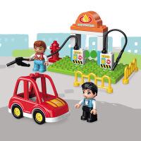 启蒙积木兼容乐高场景认知系列加油站 3-6岁+男孩礼物益智拼插玩具