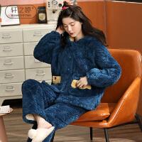 轩之婷 加绒加厚睡衣女冬三层珊瑚绒夹棉家居服中年妈妈可出门冬装套装