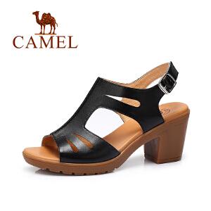 Camel/骆驼女鞋春夏新款 时尚皮带扣凉鞋休闲高跟女凉鞋