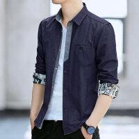 男士长袖衬衫春秋季韩版修身潮流帅气商务休闲牛仔衬衣服男装上衣