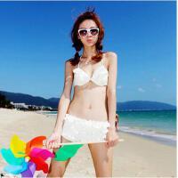 纯色性感韩版比基尼小胸钢托聚拢温泉泳衣海边泳装女