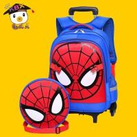 开学小学生书包 小学生拉杆书包男蜘蛛侠6-12周岁1-3-6年级双肩儿童书包 开学礼物