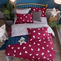 床上四件套纯棉60支贡缎长绒棉简约现代双人北欧风印花床单被套