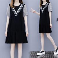 欧洲站夏季新款条纹拼接黑色连衣裙宽松显瘦小个子百褶裙女