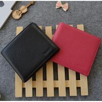 韩版情侣钱包一对短款女士真皮钱包学生男士钱夹潮两折皮夹薄