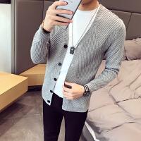 秋冬秋季青年毛衣修身型V领韩版开衫长袖休闲男士常规针织衫