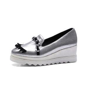 ELEISE美国艾蕾莎春季上新005-6-1街头松糕底坡跟女士乐福鞋
