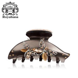 皇家莎莎RoyalSaSa发饰时尚盘发抓夹大号珠光色人造水晶宝石蝴蝶双飞头饰5SP084