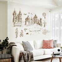 墙贴纸卧室浪漫床头装饰客厅电视背景墙壁贴纸贴画可移除城市建筑