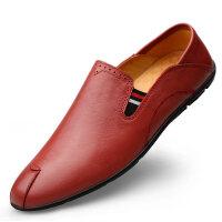 春季新款男士软皮商务休闲鞋皮鞋软底头层牛皮黑色时尚青年男鞋子