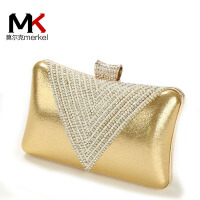莫尔克(MERKEL)2018新款钻石水晶镶钻女晚宴包单肩斜挎链条小包水钻手拿新娘手抓包