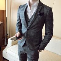 秋冬修身男士西服套装平驳领西装韩版青年2017三件套常规致韩风