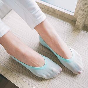 货到付款 Yinbeler【十双装】夏季糖果薄款冰淇淋低帮 女士棉袜隐形天鹅绒防滑硅胶少女船袜