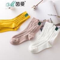 包邮 茵曼袜子三双装 夏天袜子女 透气可爱 舒适中筒袜 9872202300-3