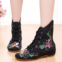 老北京绣花鞋女单靴民族风布鞋古风单鞋高帮中筒广场舞蹈短靴