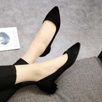 工作鞋女黑色粗跟单鞋女中跟舒适小皮鞋尖头绒面职业上班鞋子
