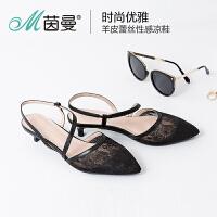 茵曼女鞋2017夏新款尖头高跟鞋蕾丝凉鞋女细跟低跟单鞋
