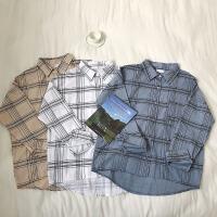 2019春季新款韩版慵懒风POLO领单排扣宽松休闲格纹长袖衬衫上衣潮