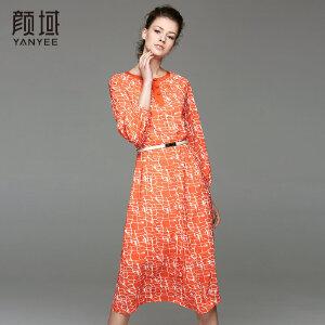 颜域品牌女装2017夏季新款复古纹理印花七分袖长款宽松收腰连衣裙