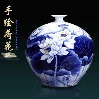 室内摆件青花瓷景德镇陶瓷器手绘青花瓷花瓶 客厅电视柜家居装饰工艺品瓷器摆件 荷花图