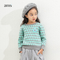 amii童装秋冬女童毛衣套头圆领中大童儿童加厚打底毛针织衫