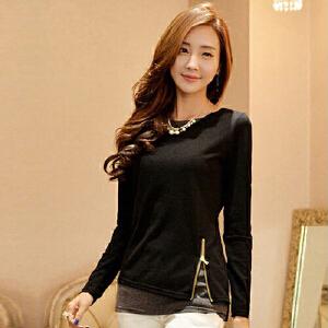 2017新款女装韩版时尚假两件长袖纯棉T恤女打底衫修身显瘦t恤HN6160