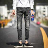潮流2018个性破洞牛仔裤子韩版新款男裤子春秋款修身小脚裤男 黑色