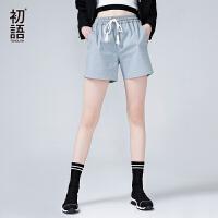 初语夏季新款宽松系带抽绳纯色休闲直筒裤高腰薄款运动短裤女