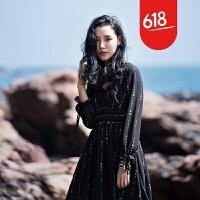 原创沙滩裙海边度假时尚V领长袖高腰显瘦波点中长款黑色雪纺连衣裙秋GH032 黑色
