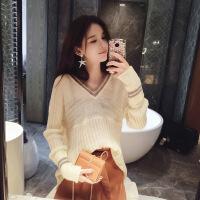 谜秀毛衣女2017秋季新款韩版修身V领短款针织衫百搭秋装上衣女装