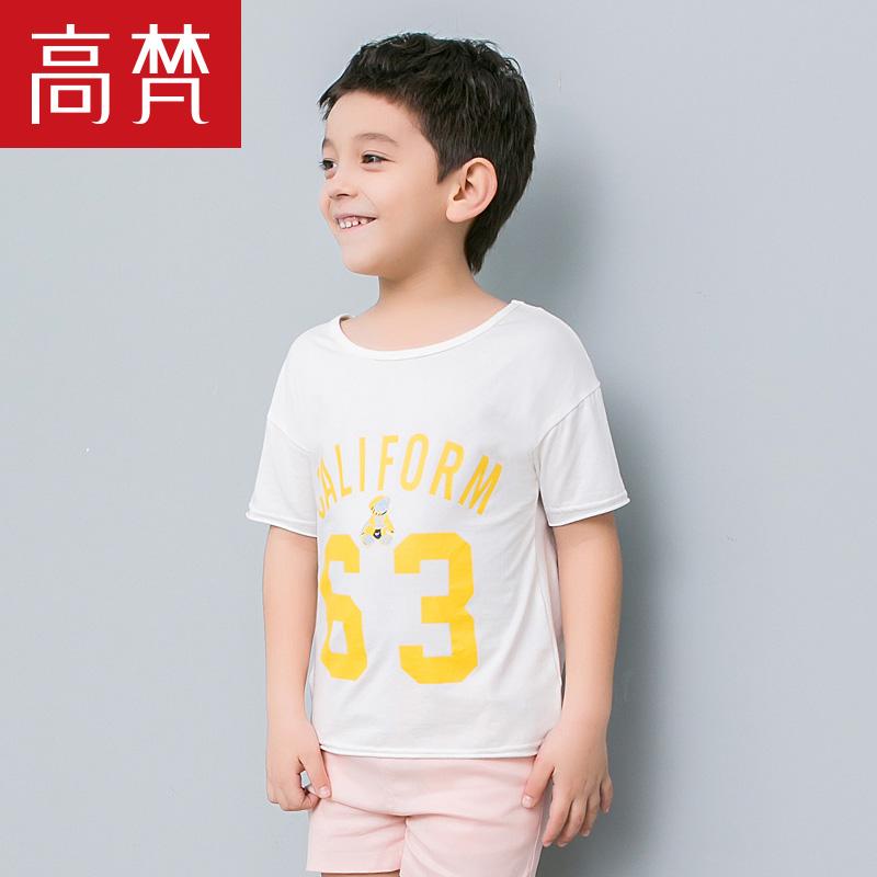 高梵2018夏季新品宝宝t恤男童短袖T恤时尚中大童字母印花圆领上衣