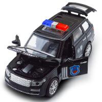 建元 儿童仿真路虎 宝马X6合金警车模型 声光回力四开玩具车玩具