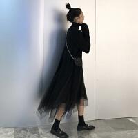 网红女神范套装裙秋冬新款韩版洋气毛衣网纱裙子冬裙两件套女