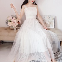 2019白色网纱蛋糕裙高腰大摆仙女蕾丝花朵刺绣吊带长裙连衣裙 白色